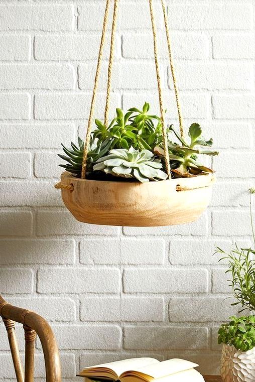 Wood fruit bowl turned hanging basket