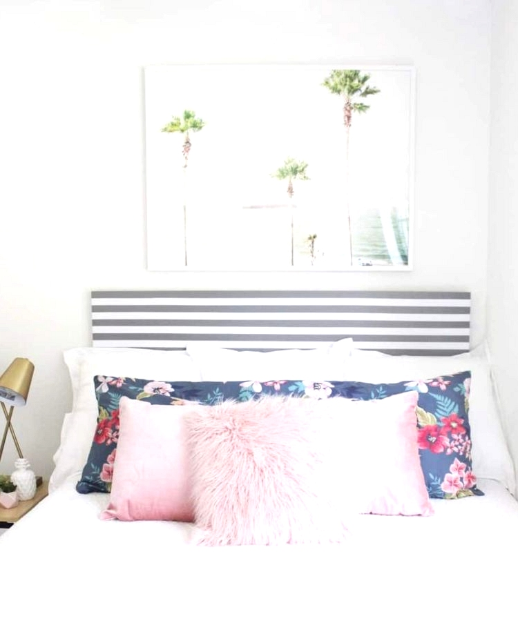 DIY stripped IKEA headboard using tape