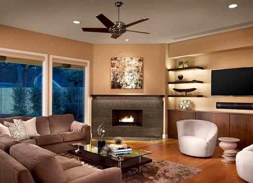 Large Contemporary Corner Fireplace