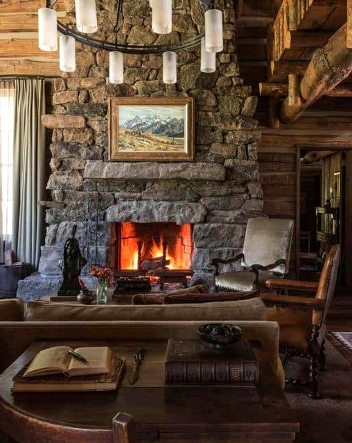 A Cabin in the Woods Fireplace