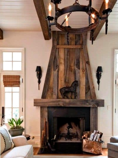 A Wooden Corner Fireplace