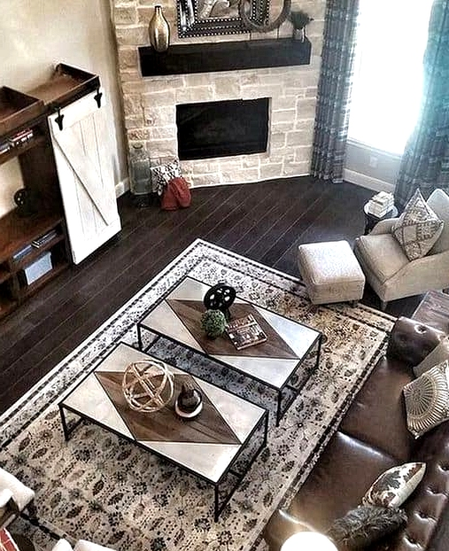 A Family Room Corner Fireplace