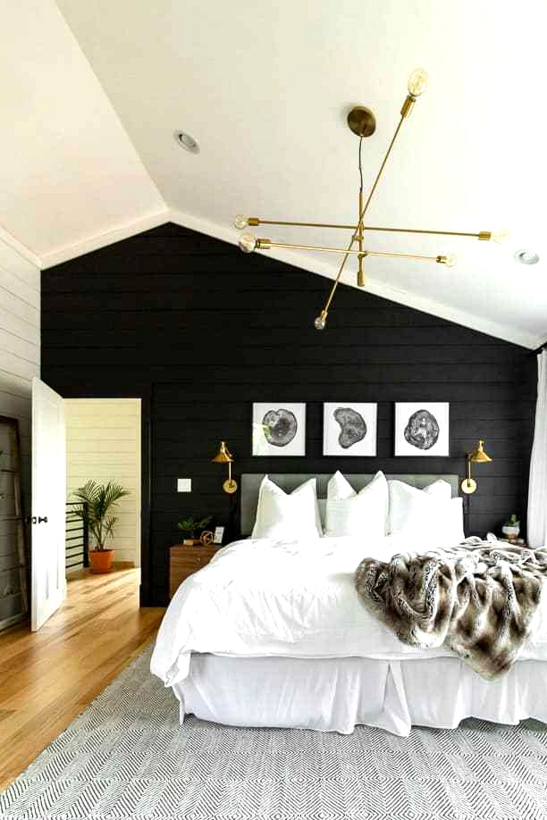 Painted black shiplap in an edgy modern master suite