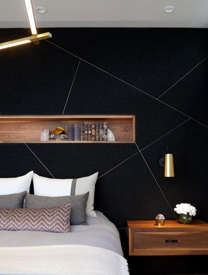 Modern Black Geometric Bedroom Feature wall