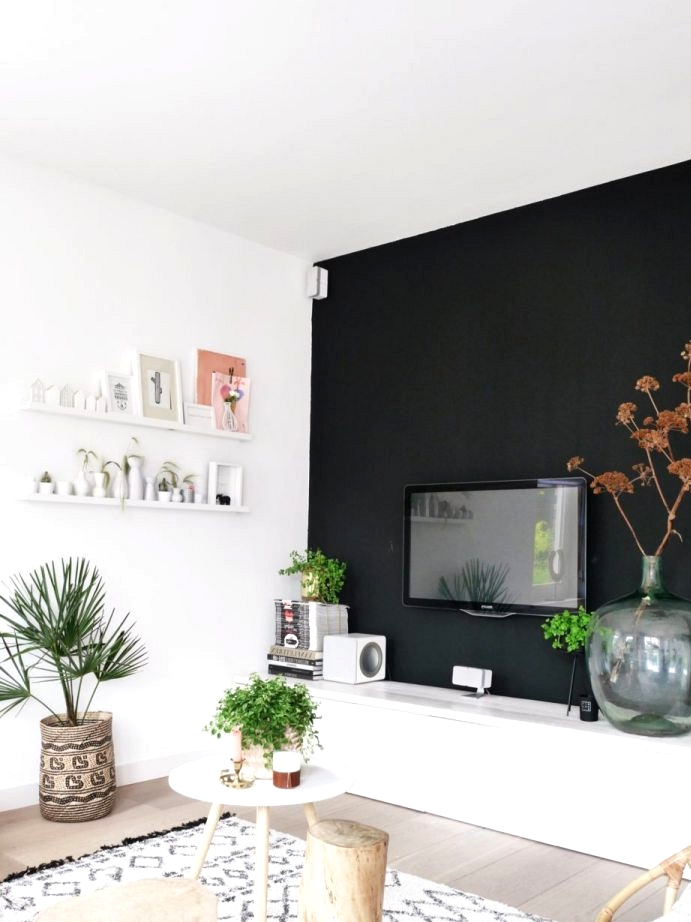 Painted black wall hides the TV in this living room