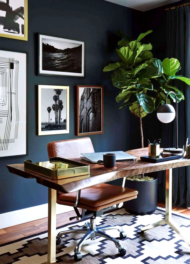 Bold Black Mid Century Office with a masculine touch
