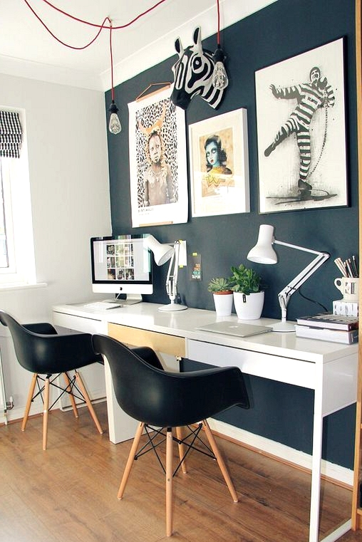 Modern black wall in a home office