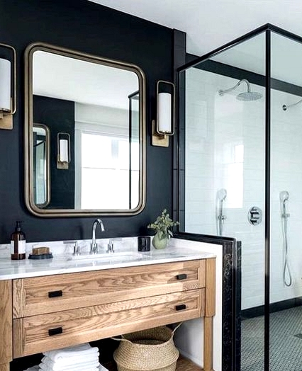 Transitional bathroom with a black accent wall
