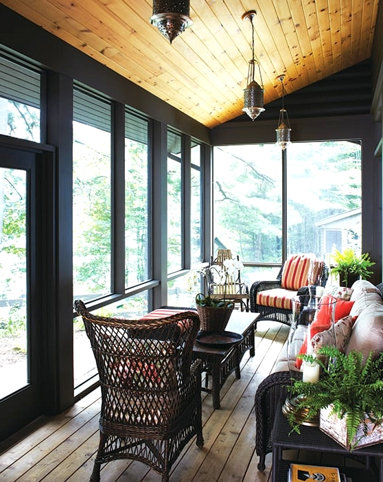 Paint the Walls Dark for an Intimate Porch