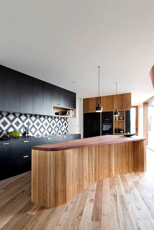 Kitchen Island Made of Barnwood Planks