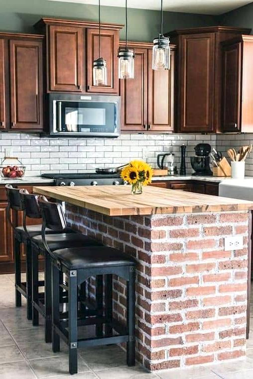 Barnwood Countertop with Brick Kitchen Island