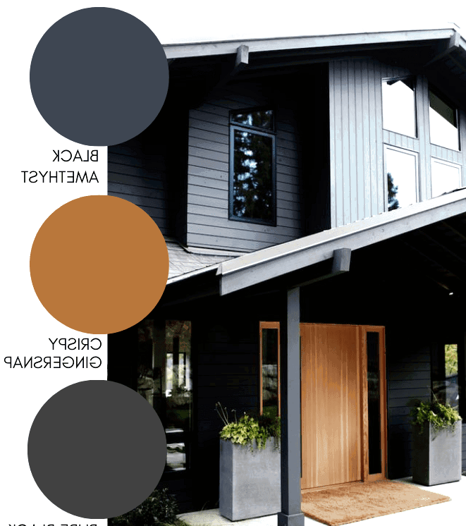 Traditional home with modern paint finishes and a classic golden oak front door.