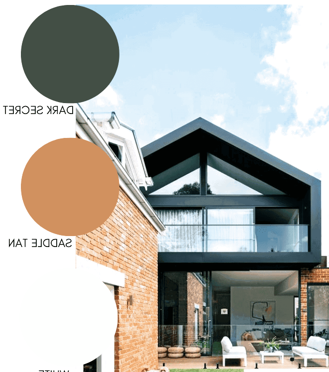 Traditional brick finish works with modern architectural elements to create a wonderful color combination