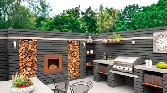 Outdoor Kitchen design with a fireplace