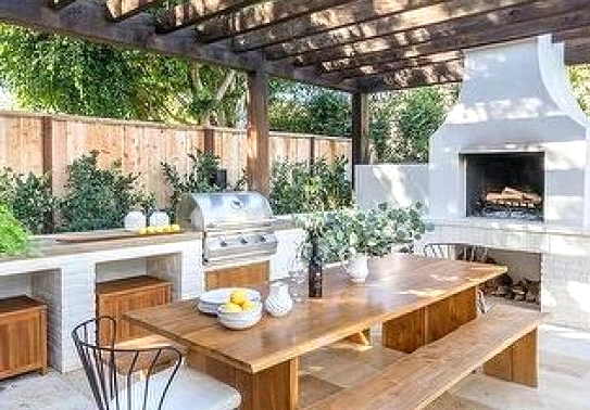 Outdoor Kitchen Idea Beneath A Pergola
