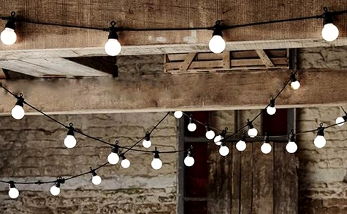 Put Up String Lights on the Basement Ceiling