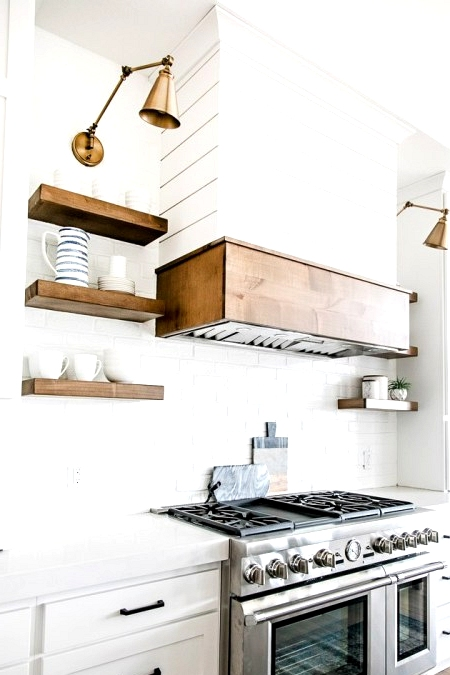 Modern farmhouse kitchen with a shiplap hood fan