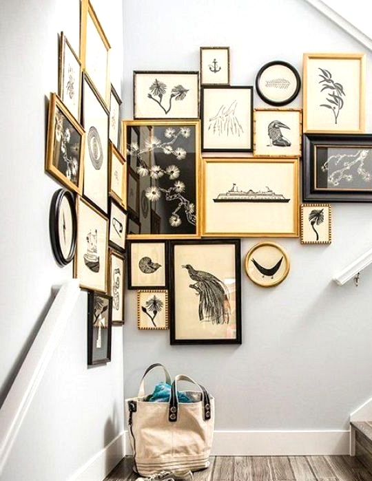 Gallery Wall Ideas to Inspire | Black White and Gold Staircase