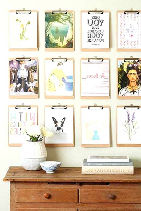 Gallery Wall Ideas To Inspire | Cheap Clip Board Art