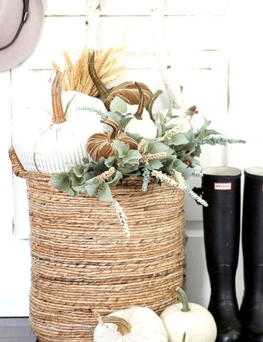 Chic fall front door decor complete with fabric pumpkins