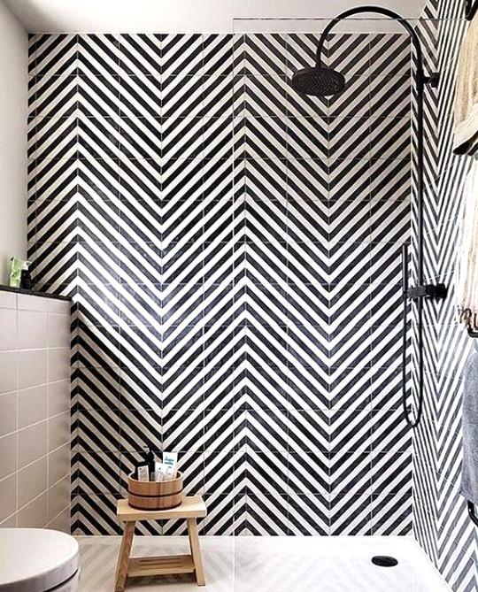 Bold modern shower tile design