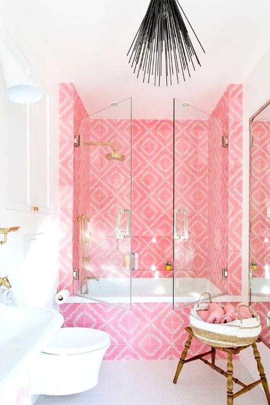 Hot pink girls bathroom