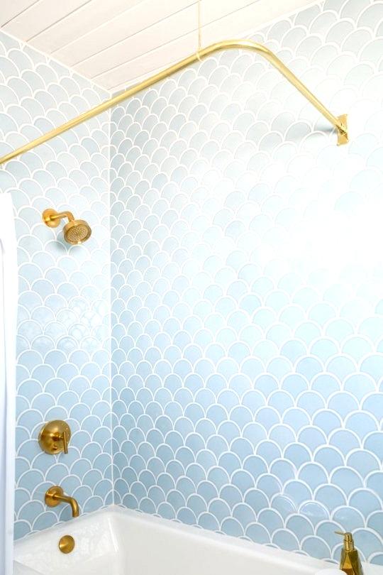 Light blue fish scale shower tile