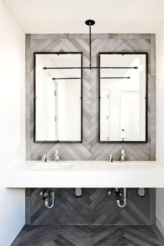 Modern Grey Herringbone Feature Wall