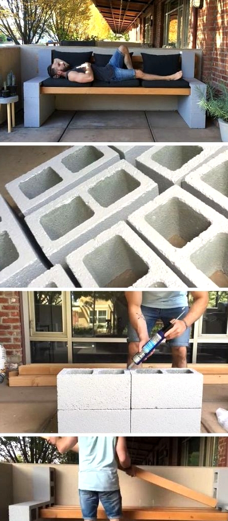 Fast and easy DIY Concrete block bench