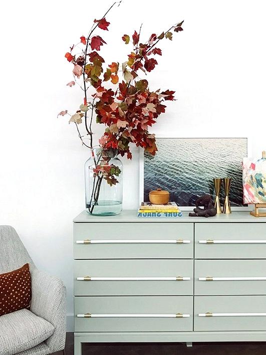 Painted IKEA dresser with DIY dowel hardware.