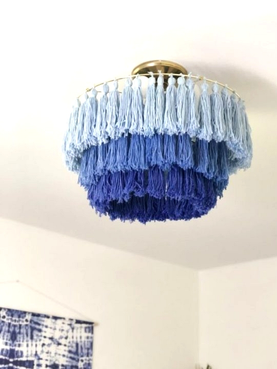 DIY blue yarn ombre light fixture that covers boob light