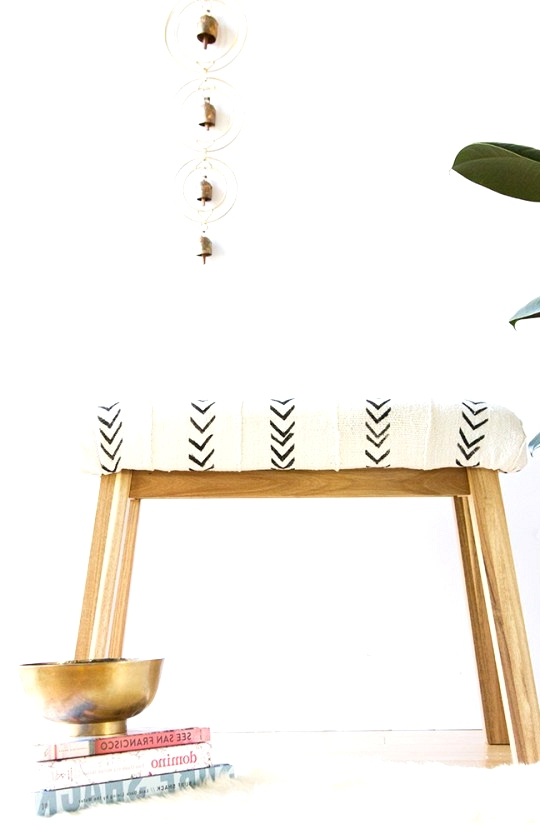 IKEA Hack Mudcloth upholstered bench