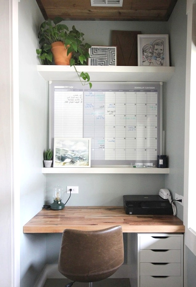 Mini DIY office with a large window.
