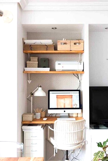 Home office idea for small spaces. Little nooks beside the TV is a perfect place for a desk.