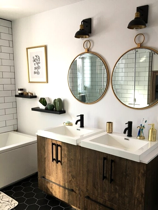 Get White Porcelain Sinks Mounted in Wooden Cabinets