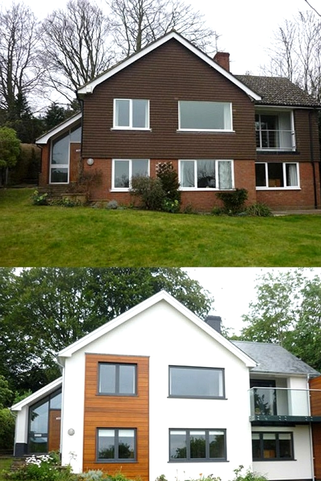 Home exterior gets a modern face lift in this awesome before and after exterior remodel