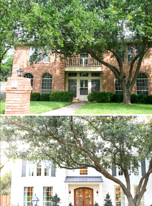 Dated 90's brick home exterior gets a timeless facelift. Before and after home exterior remodel
