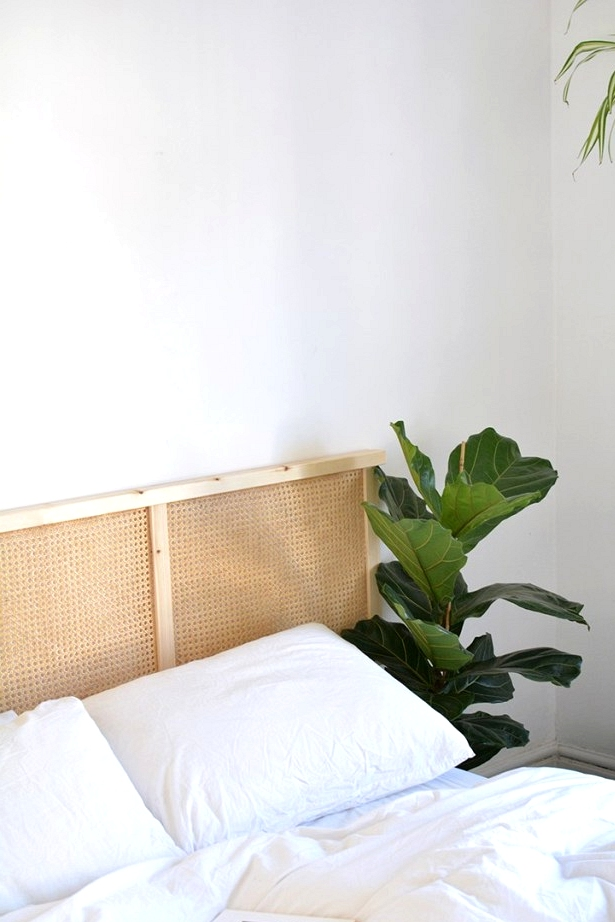Easy boho IKEA hacks using rattan like this simple headboard.