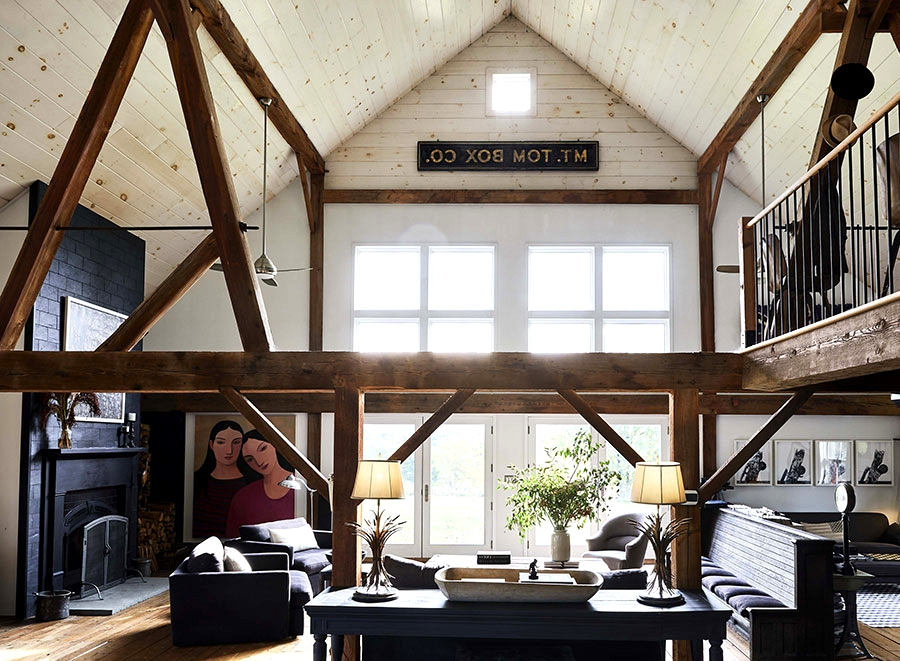 Dilapidated barn transformed into household nest with vintage furnishings in New York
