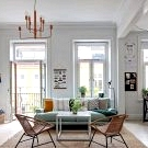 Light and pleasant Scandinavian apartment with blue sofa (79 sqm)