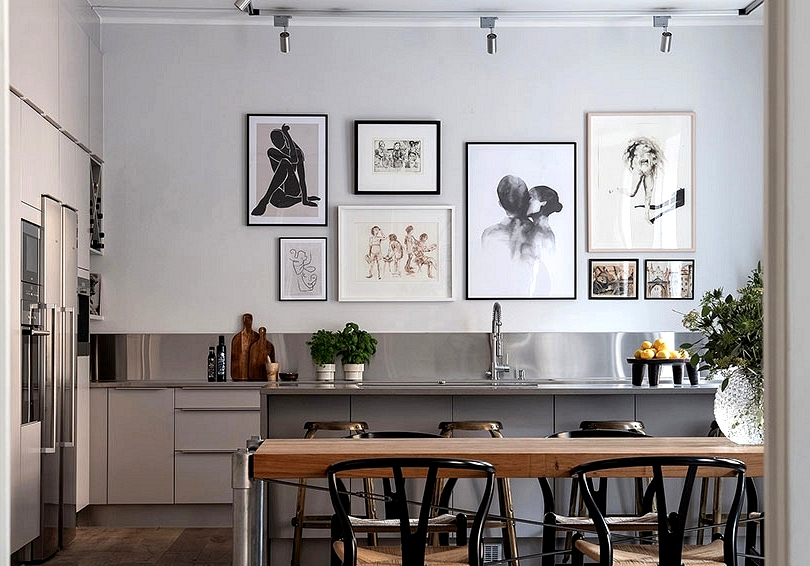 Posters and industrial touches in spacious Scandinavian residence