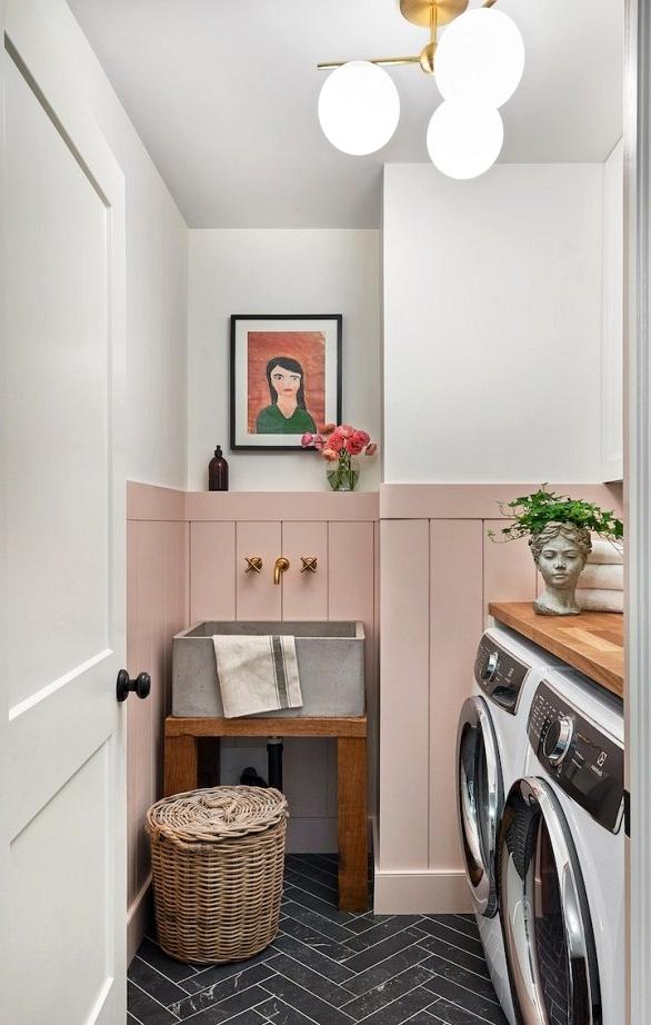 Pink wainscotting laundry room design idea.