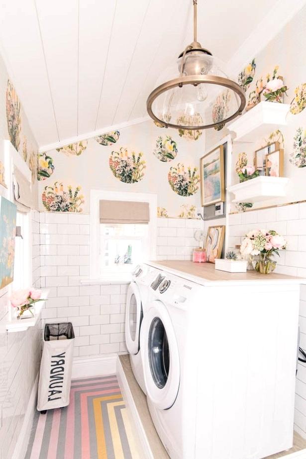 bright and cheerful laundry room design idea