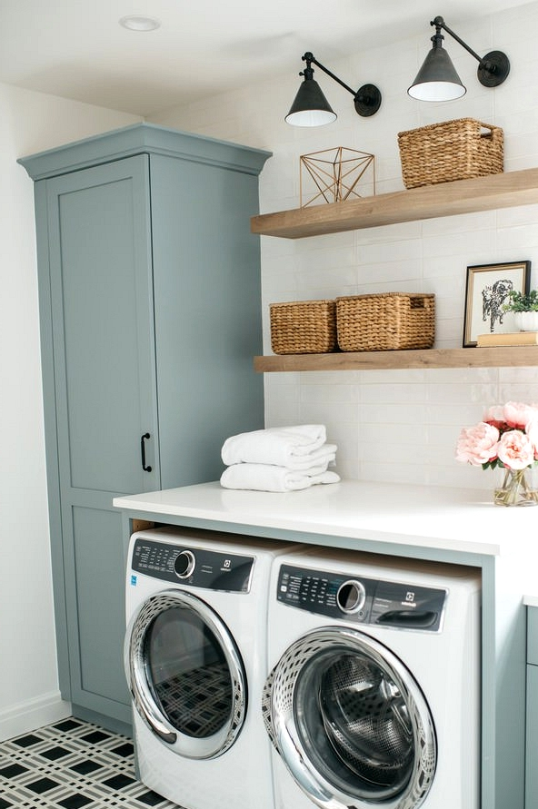 robins egg blue laundry room cabinet