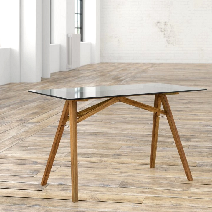 Solid wood and glass table top mid century modern work table.