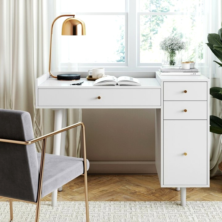 A versatile vanity that doubles as a chic work station. a perfect spot for homework.