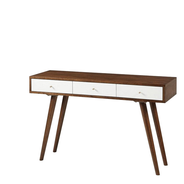 A versatile mid century modern style console table that doubles as a home office desk!