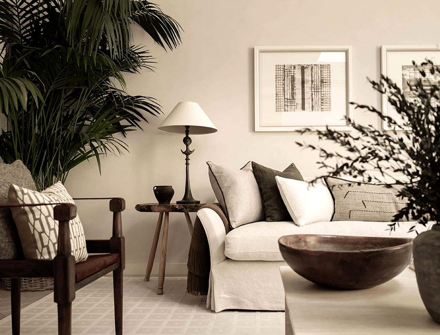 Impartial interiors of London condo with vegetation