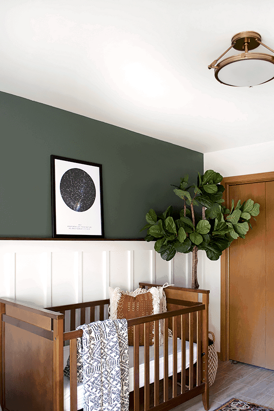 Beautifully designed accent wall ideas using a moody deep green color.