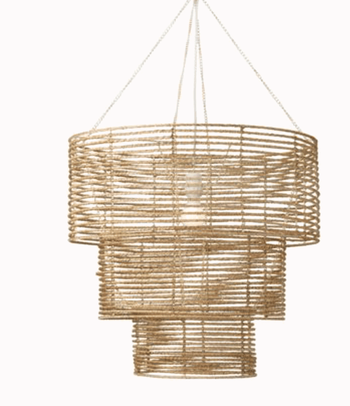 This three tiered chandelier with jute is the perfect boho light fixture for a dining room or bedroom.